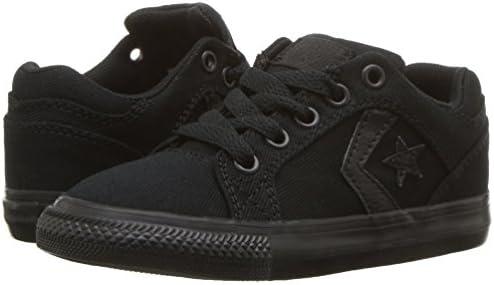 Converse Boys' El Distrito Twill Low Top Sneaker, Black, 1 M