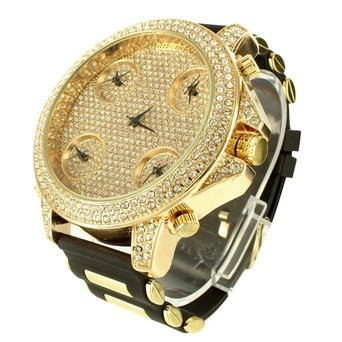 14k Yellow Gold Finish Iced Mens Techno pave Jojino Joe Rodeo Rubber Band Watch