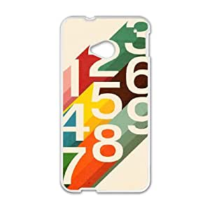 HTC One M7 Cell Phone Case White Retro Numbers Dznh