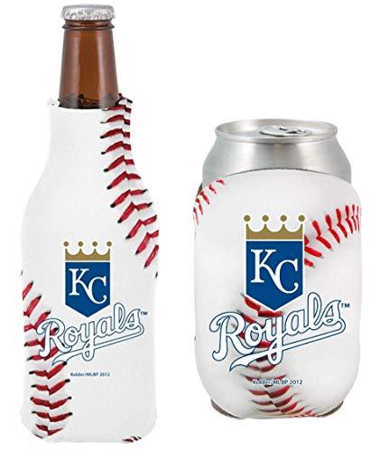 MLB Baseball Team Logo Bottle & Can Cooler Set 12oz Neoprene Beverage Drink Holder Sleeve Cooler (Kansas City Royals) ()