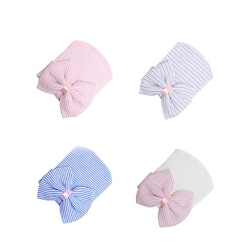 Ever Fairy Infant Baby Girls Floral Print Nursery Newborn Hospital Hat Cap with Big Bow (Gem 4 Color(Pink+Purple+Blue+White))