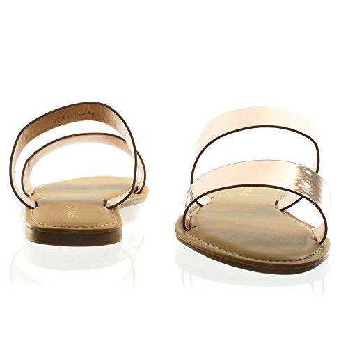 Bamboo Womens Flat Slip On Strappy Sandal w Double & Triple Strap 2 Strap Rose Gold ioMj80D4B