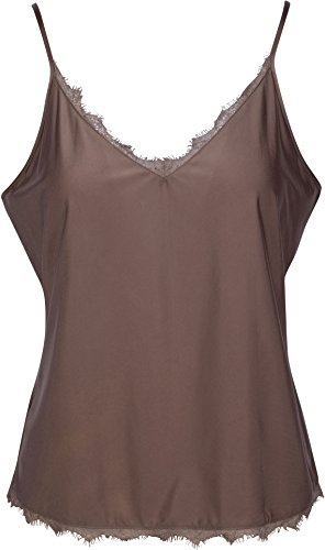 Lace Republic Sexy Women's Camisoles with Frill Detail and Adjustable Straps,Taupe,X-Large ()