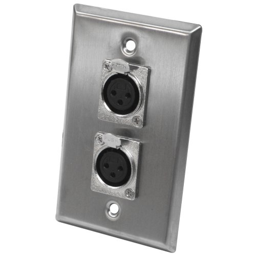 Seismic Audio SA-PLATE2 Dual XLR Female Stainless Steel Wall Plate ()