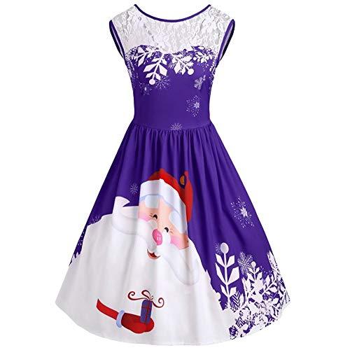Women O-Neck Skirt Duseedik Merry Christmas Lace Insert Santa Claus Print Party Dress