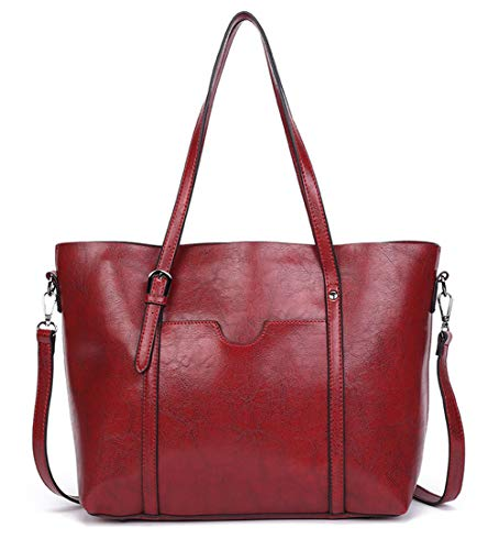 Dreubea Women's Soft Leather Handbag Big Capacity Tote Shoulder Crossbody Bag Upgraded - 15.4 Inch Berry