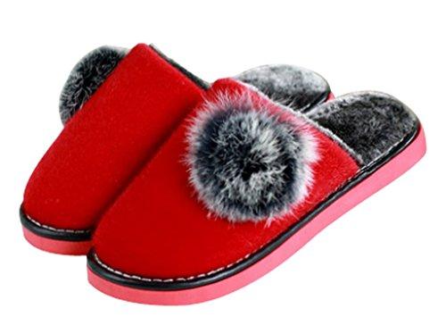 Femmes Polaire Chaud Intérieur Maison Chambre Chaussons Pantoufles Intérieur Rouge