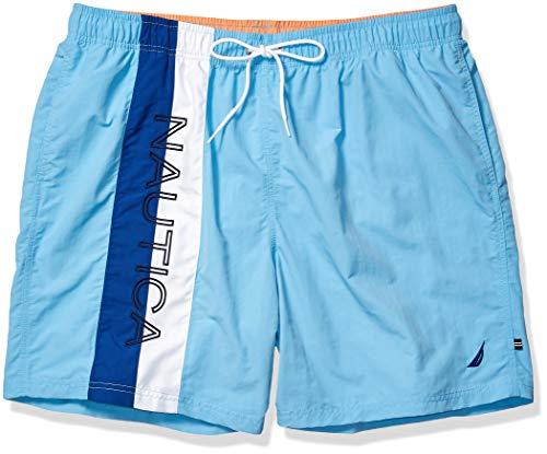 Nautica Men's Big Quick Dry Logo Color Block Nylon Swim Trunk, Alaskan Blue, 2XLT Tall