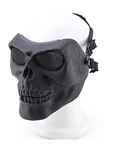 [YX Metallic Mask For Bicycling/ Halloween/ Skull Skeleton/ Airsoft/ Paintball/ BB Gun, A Full Face Protection Mask Shot] (Halloween Goggles)