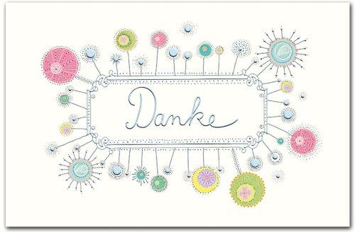 10 Dankeskarten hochwertige Grußkarten aus Narturkarton Danke mit Silberfolie und Blindprägung Klappkarten mit farbigen Briefumschlägen 410-1906