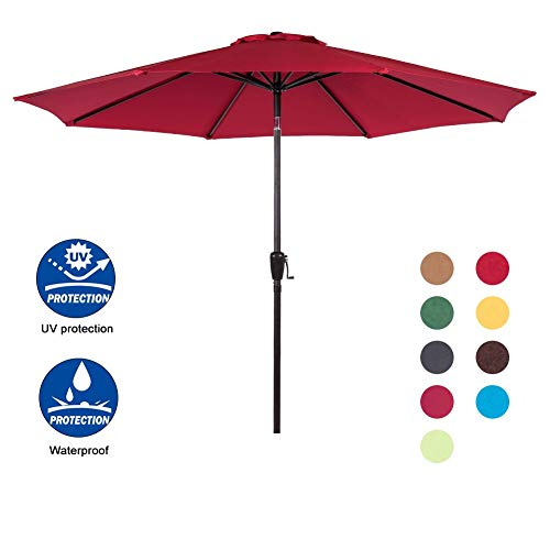 Sundale Outdoor 9 Feet Aluminum Market Umbrella Table Umbrella with Crank and Auto Tilt for Patio, Garden, Deck, Backyard, Pool, 8 Alu. Ribs, 100% Polyester Canopy, Red