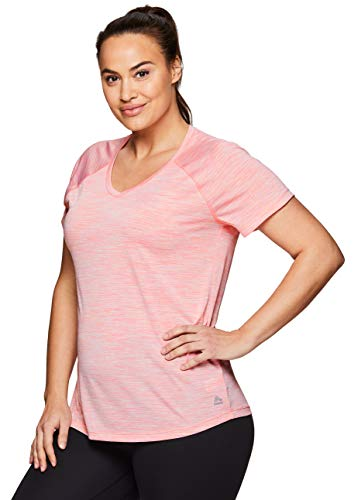RBX Active Women's Plus Size Short Sleeve Yoga Workout V-Neck Top S19 Pink 3X