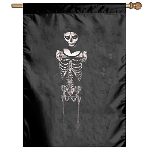 Linhong Unisex-Adult, Unisex-Children Garden Flag Halloween Costume Skeleton Bw Home Flag ()