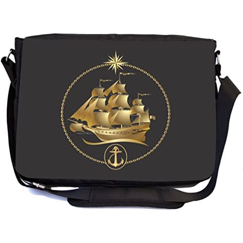 Rikki Knight Gold Sailboat Emblem Design Multifunctional Messenger Bag - School Bag - Laptop Bag - with padded insert for School or Work - Includes Matching Compact Mirror