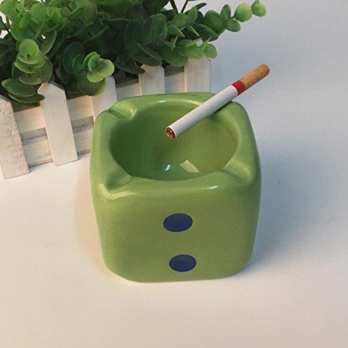 (Creative personality dice ceramic ashtray fashion cute European trend ashtray office room decoration,Navy Blue)