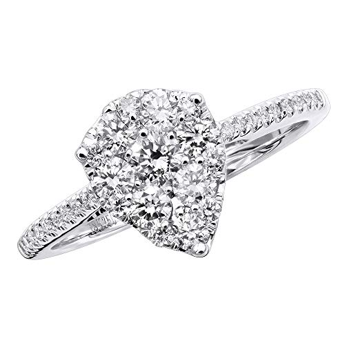 3 Carat Look Pear Shape Diamond Engagement Ring 18K Gold 1ct Round Diamonds 1ctw G-H color (Size 6.5)