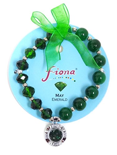 Price comparison product image Linpeng Fiona Crystal Spinner Lucky Charm Birthstone Color Stretch Bracelets_May / Emerald_Pup-31-5