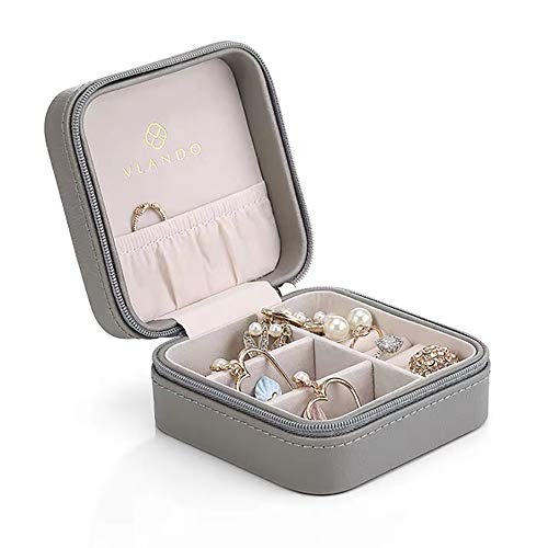Vlando Small Faux Leather Travel Jewelry Box Organizer Display Storage Case for Rings Earrings Necklace, Grey