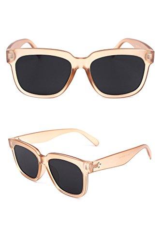 Miss fang Kuang Frosted Transparent Unique Retro Sunglasses Korean Street Shooting Casual Elegance Sunglasses (Brown Black Box Sheet