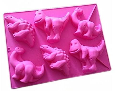 Efivs Arts 6 Cavities Dinosaur Shape Silicone Baking Cake Mold Candle Cake Chocolare DIY Moulds