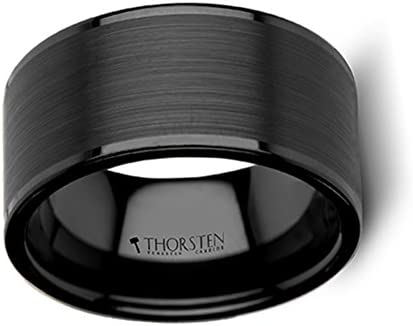 Thorsten Vulcan Black Tungsten Ring with Brushed Finish and Polished Edges 12mm Width from Roy Rose Jewelry