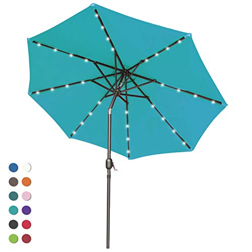 ABCCANOPY Solar Umbrellas Patio Umbrella 9 FT LED Umbrellas 32LED Lights with Tilt and Crank Outdoor Umbrella Table Umbrellas for Garden, Deck, Backyard, Pool and Beach,12 Colors, Turquoise