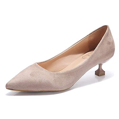 ZHZNVX Beige Basic Beige Heels Polyurethane Kitten Summer Shoes Toe Women's Red PU Pointed Blue Pump Heel qrqSg