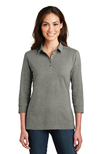 Port Authority Ladies 3/4-Sleeve Meridian Cotton Blend Polo. L578 Monument Grey