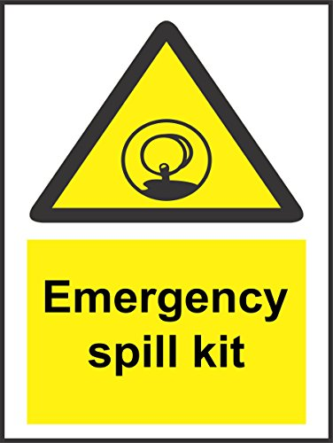 INDIGOS UG - Sticker - Safety - Warning - Emergency Spill Kit Sign - Self Adhesive Sticker 200mm x 150mm - Decal for Office, Company, School, Hotel