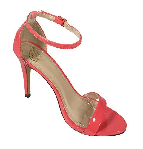 Delicious Womens Jaiden Open Toe Slim High Heel Ankle Strap Sandals in Salmon Patent Leatherette CoIiaJ