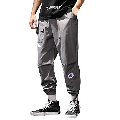 (DONTAL Men Casual Hallen Loose Pure Color Outdoors Sports Overalls Long Pants Work Trousers Dark Gray)