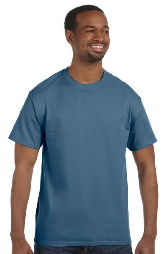 Hanes Ultimate Tagless Double-Needle Crewneck T-Shirt, Denim Blue, (100% Cotton Mens Tee)
