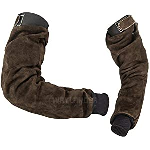 Waylander Welding Sleeves Leather Arm Protection Deluxe Kevlar Stitched Pair with Adjustable Upper End Heat Flame