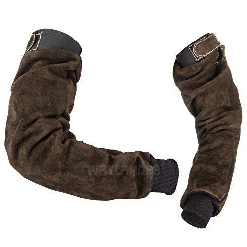 Waylander Welding Sleeves Leather Arm Protection Deluxe Kevlar Stitched Pair with Adjustable Upper End Heat Flame Resistant Heavy Duty Dark Brown ()
