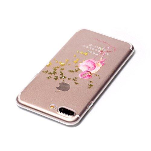 "iPhone 7 Plus Coque , Leiai Transparent Mode Ultra-mince Feuille d'Arbre Oie Silicone Doux TPU Housse Gel Etui Case Cover pour Apple iPhone 7 Plus 5.5"""
