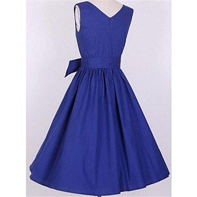 PU&PU Robe Aux femmes Trapèze simple,Couleur Pleine Col Arrondi Au dessus du genou Nylon , blue , m