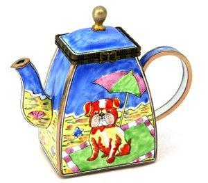 Kelvin Chen Enameled Miniature Tea Pot - Dog at Beach