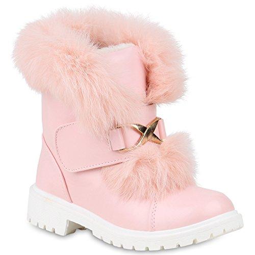 Stiefelparadies Kinder Winter Boots Warm Gefütterte Stiefeletten Kunstfell Schuhe Flandell Rosa Metallic Brito
