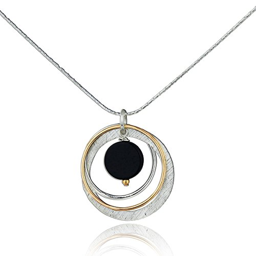 Two Tone Black Onyx Multi Hoops Necklace 925 Sterling Silver & 14k Gold-Filled Pendant, 18