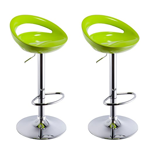 2 Swivel Bar Stools - Duhome 2 PCS Swizzle Gloss Finish Crescent Shape Adjustable Swivel Bar Stools Kitchen Counter Top (Green)