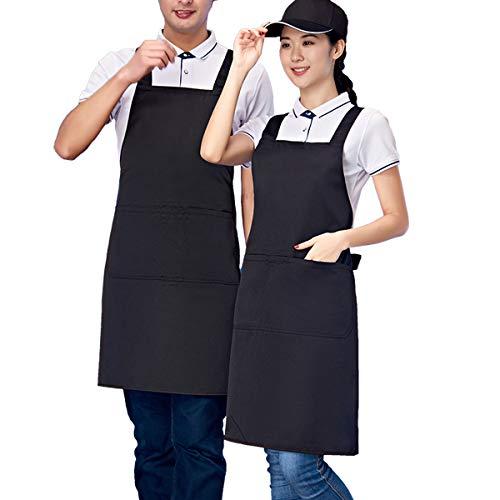 Homsolver Three Pockets Adjustable Bib Adult Apron - Extra Long Ties - Kitchen Apron, Money Apron, Waitresses Apron - Cooking Kitchen Aprons Women Men