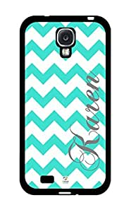 iZERCASE Personalized Turquoise and White Chevron Pattern RUBBER Samsung Galaxy S4 Case - Fits Samsung Galaxy S4 T-Mobile, AT&T, Sprint, Verizon and International (Black) by runtopwell