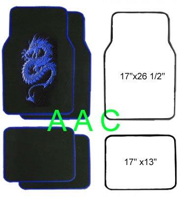A Set of 4 Universal Fit Plush Carpet Floor Mats for Cars / Truck - Dragon Blue -