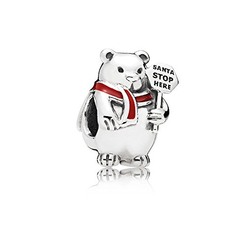 PANDORA Disney Charm, Christmas Polar Bear, Berry Red Enamel 796466EN39