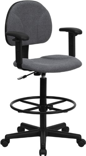 Flash Furniture Gray Fabric Drafting Chair with Adjustable Arms (Cylinders: 22.5