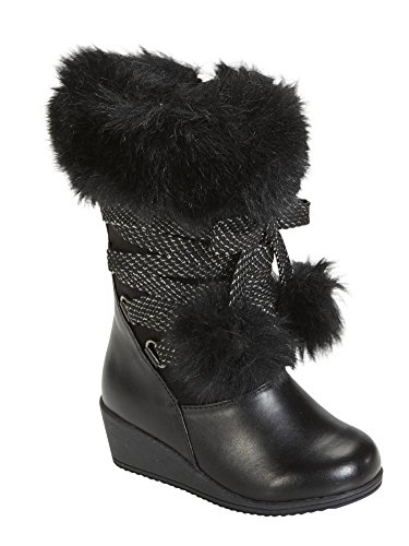 Canyon River Blues Toddler Girls Black Fashion Boots with Faux Fur Trim 7T