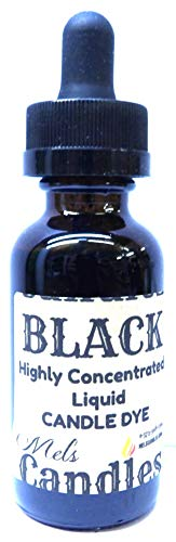 Mels Candles & More 1oz Bottle of Black Highly Concentrated Liquid Candle Dye - Amber Glass Dropper Bottle with Childproof Cap.