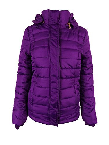 Rampage Womens Hooded Quilted Puffer Coat XS Purple
