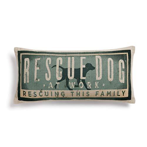 Designer Dog Pillow (Rescue Dog Vintage Blue 17 x 7 Cotton Polyester Fiberfill Throw Pillow)