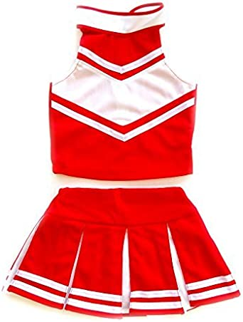 GIRLS VEST TOP CHEER SPORTS WEAR CHEERLEADER RED WHITE FANCY DRESS PARTY COSTUME